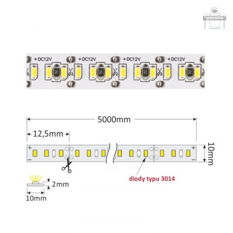 Taśma 1200 led PREMIUM ip20 3014 5m neutralna